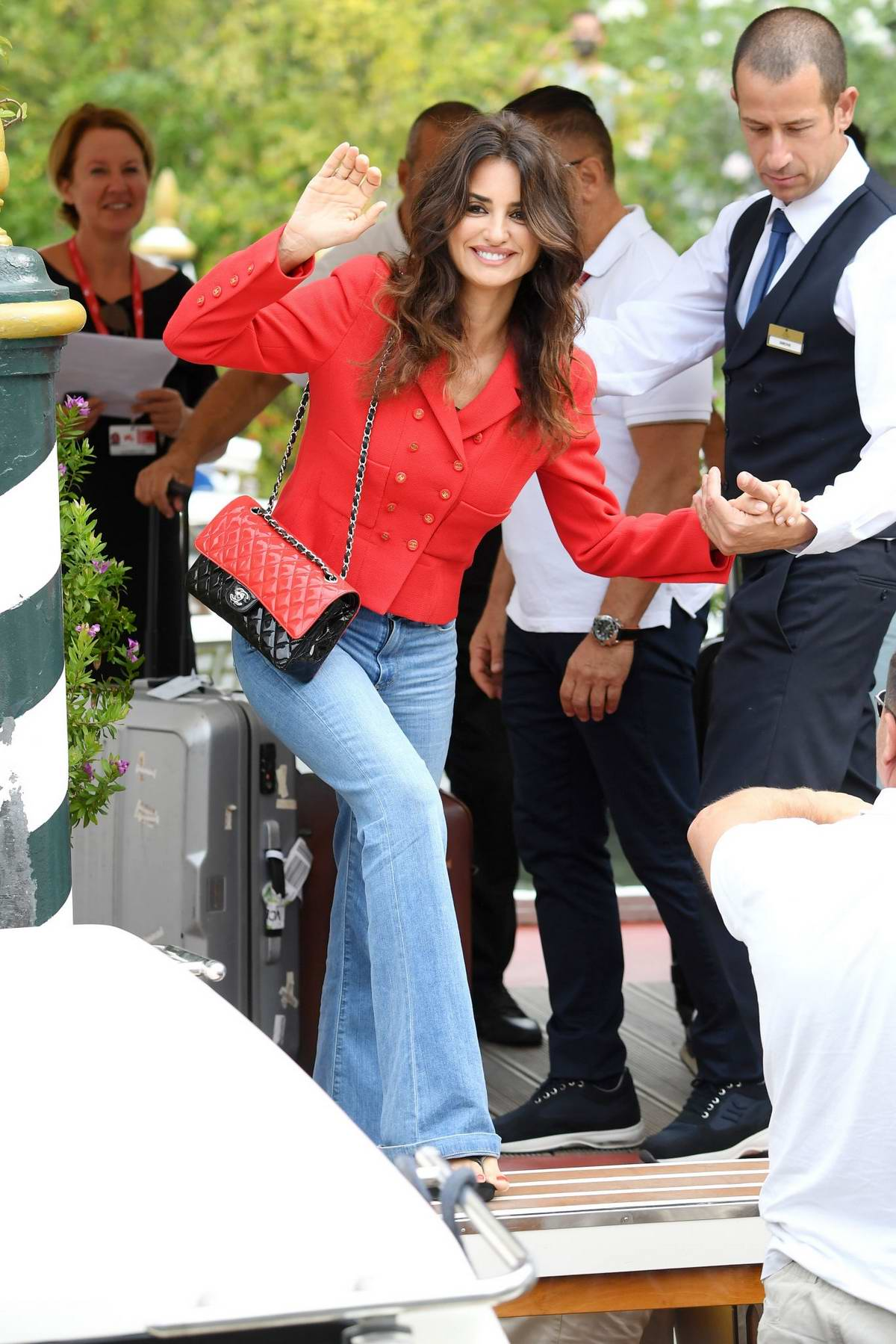 Penelope Cruz is all smiles as she steps out during the 76th Venice Film Festival in Venice, Italy