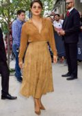 Priyanka Chopra wears a brown ensemble at the LA Times Junket during 2019 TIFF in Toronto, Canada