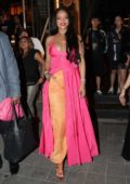 Rihanna looks gorgeous in pink and orange ensemble while out in Itaewon down town in Seoul, South Korea
