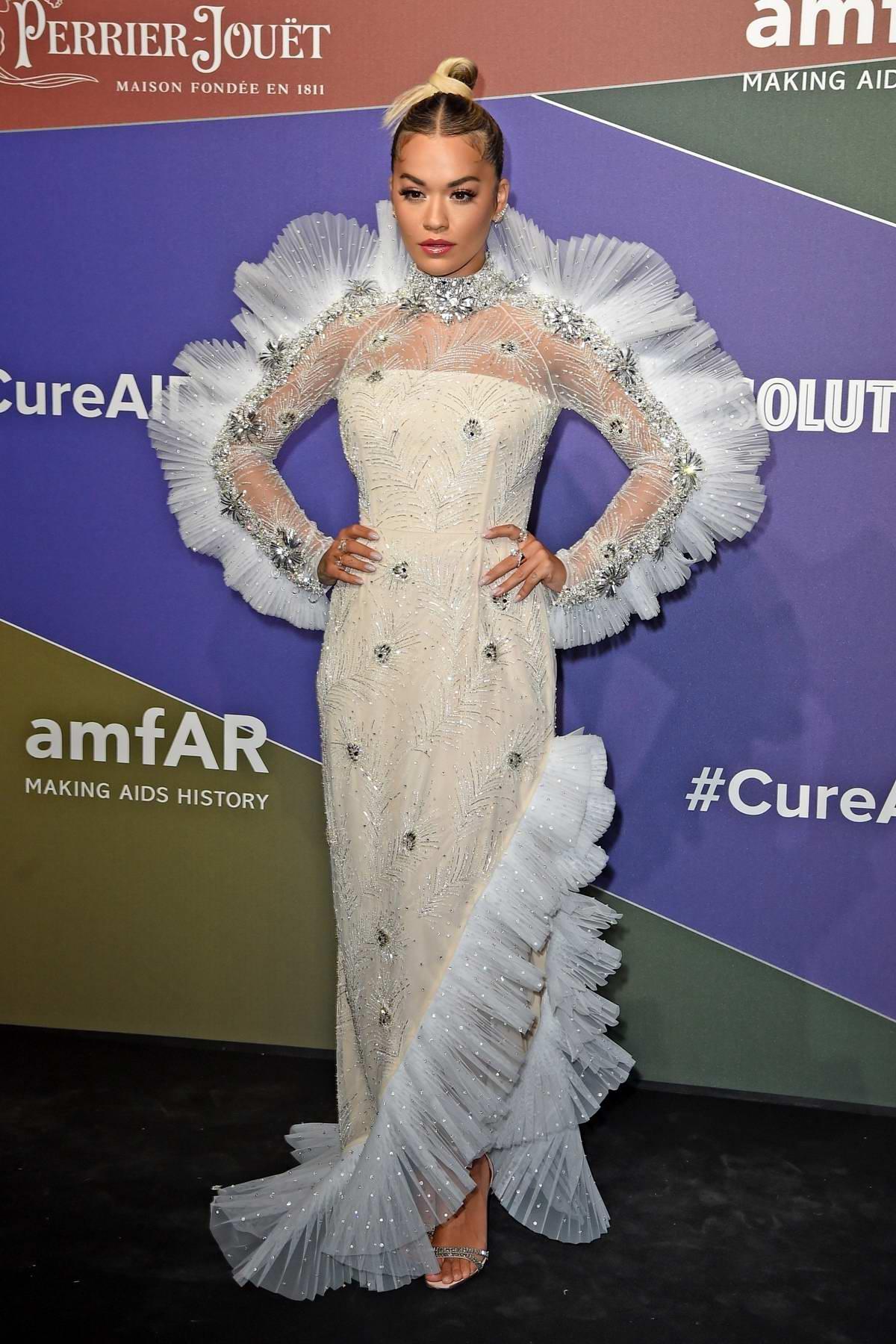 Rita Ora attends the amfAR Gala Milano 2019 at Palazzo Mezzanotte in Milan, Italy