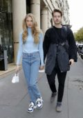 Romee Strijd and Laurens Van Leeuwen seen leaving their hotel during Paris Fashion Week in Paris, France