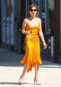 Rowan Blanchard steps out in a bright yellow dress in New York City