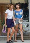 Rowan Blanchard wore a blue and off-white top and grey mini skirt while out with a friend in New York City