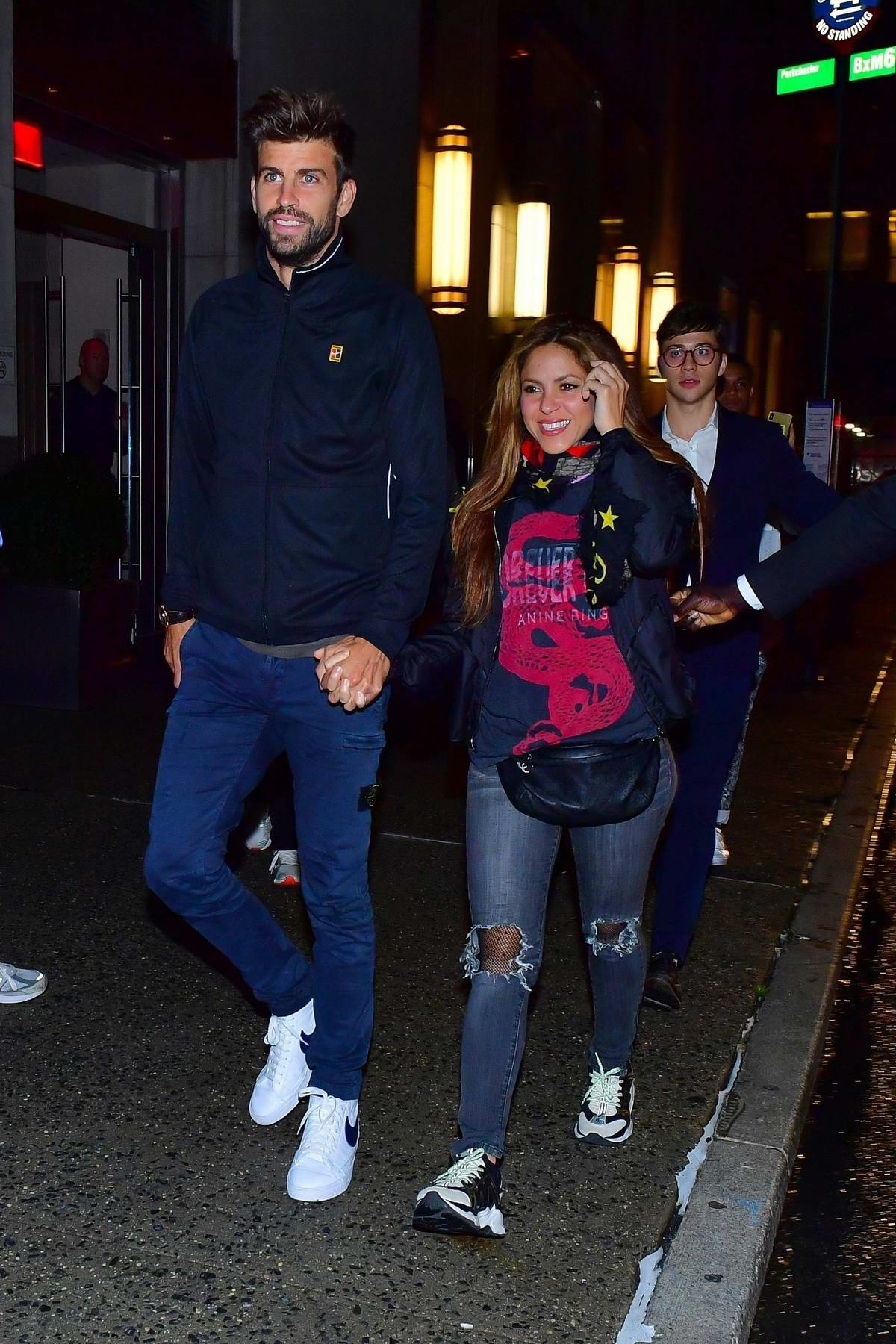 Shakira is all smiles as she and Gerard Piqué step out for dinner in New York City
