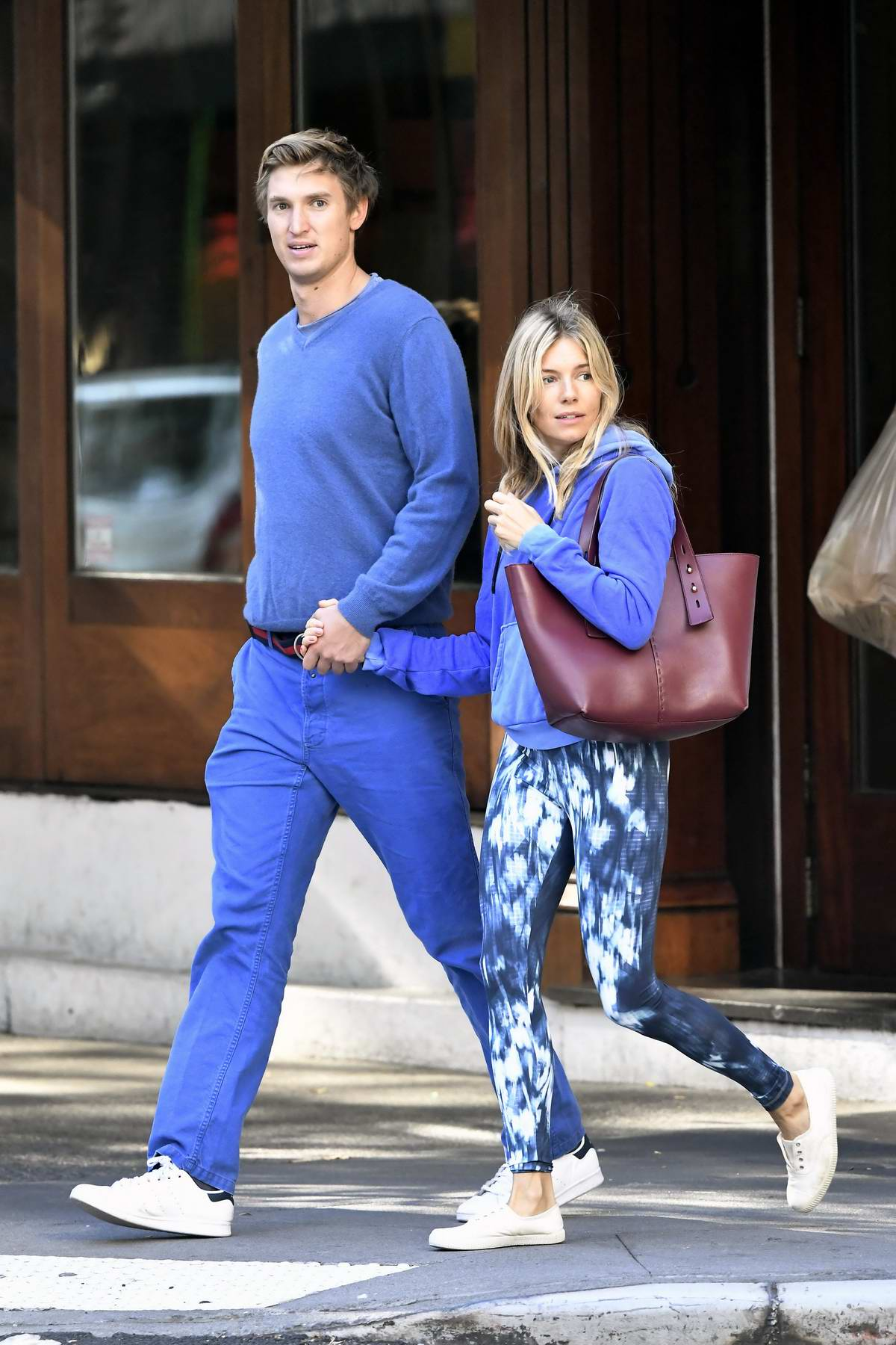Sienna Miller and Lucas Zwirner step out for a morning stroll in New York City