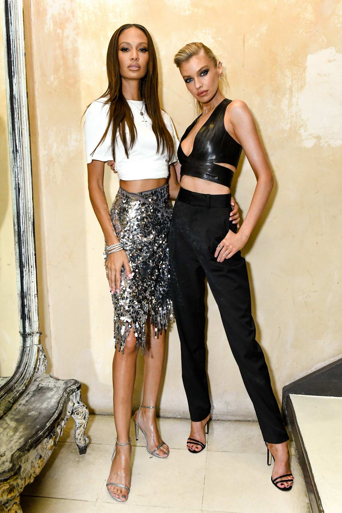 Stella Maxwell and Joan Smalls attend the H&M Celebrates Launch of Studio AW19 Collection in New York City