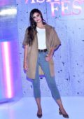 Taylor Hill poses for photos during the 2019 Fashion Fest Press Event at Estacion Indianilla in Mexico City, Mexico