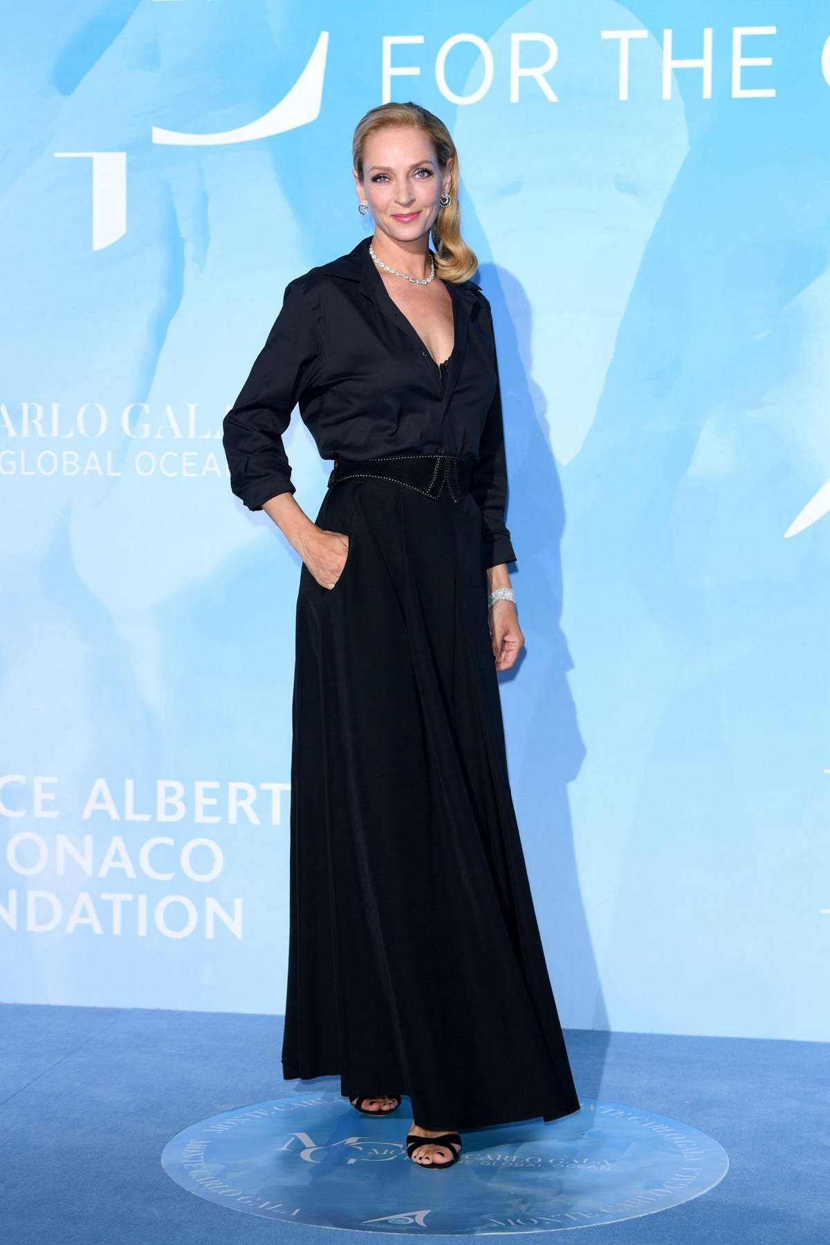 Uma Thurman attends the Gala for the Global Ocean in Monte Carlo, Monaco