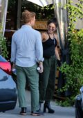 Vanessa Hudgens meets up with a friend for dinner in Los Angeles
