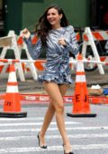 Victoria Justice looks stunning in a metallic silver mini dress while out during NYFW in Tribeca, New York City