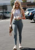 Witney Carson spotted in a white crop top and teal grey leggings as she arrives at the DWTS studios in Los Angeles