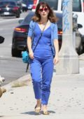Zooey Deschanel dressed in all blue as she steps out for errands in Hollywood, California