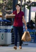 Zooey Deschanel keeps it casual while she picks up dinner to go in Manhattan Beach, California