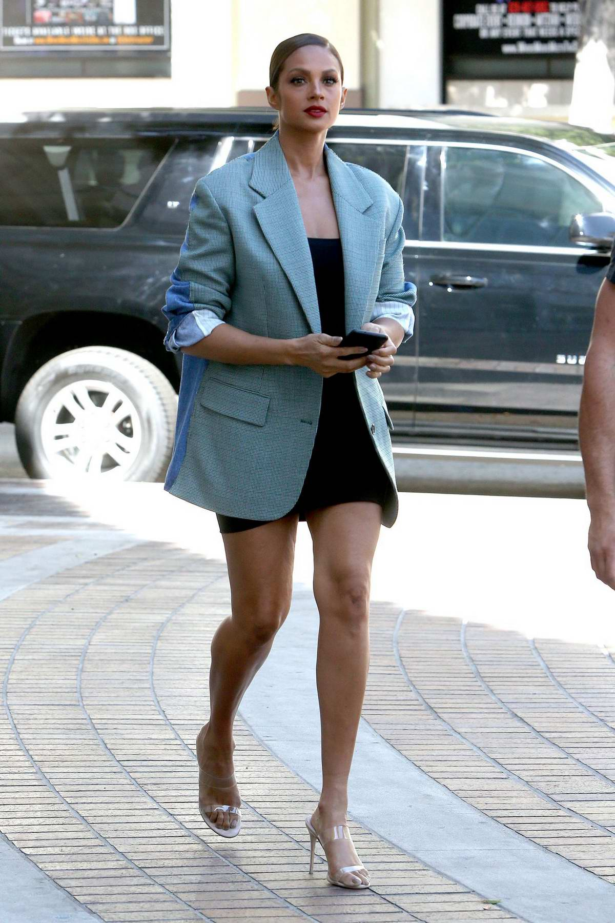 Alesha Dixon shows off her long legs as she arrives at America's Got Talent in Pasadena, California