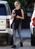 Alessandra Ambrosio rocks a black tank and grey animal print leggings while attending Brooke Burke's Bootcamp in Malibu, California