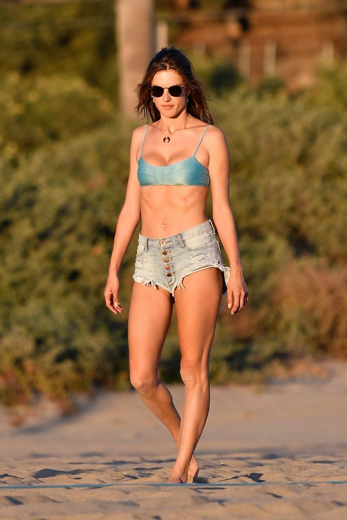 Alessandra Ambrosio rocks a blue bikini top and denim shorts during a beach day with friends and her dogs in Santa Monica, California