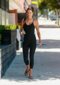 Alessandra Ambrosio shows off her amazing figure in a black jumpsuit as she heads to a Pilates class in Santa Monica, California