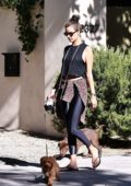 Alessandra Ambrosio takes her pups out for a walk in Brentwood, Los Angeles