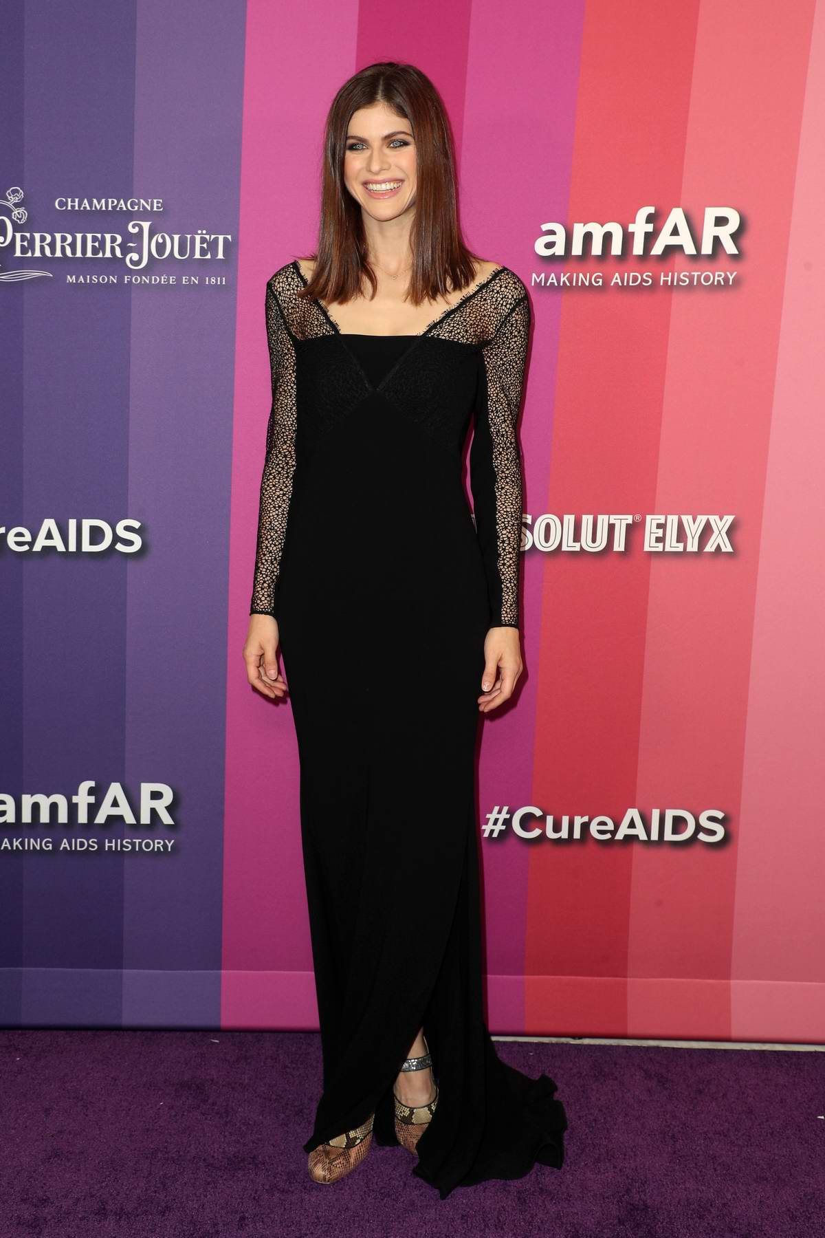 Alexandra Daddario attends the 2019 amfAR Inspiration Gala at Milk Studios in Los Angeles