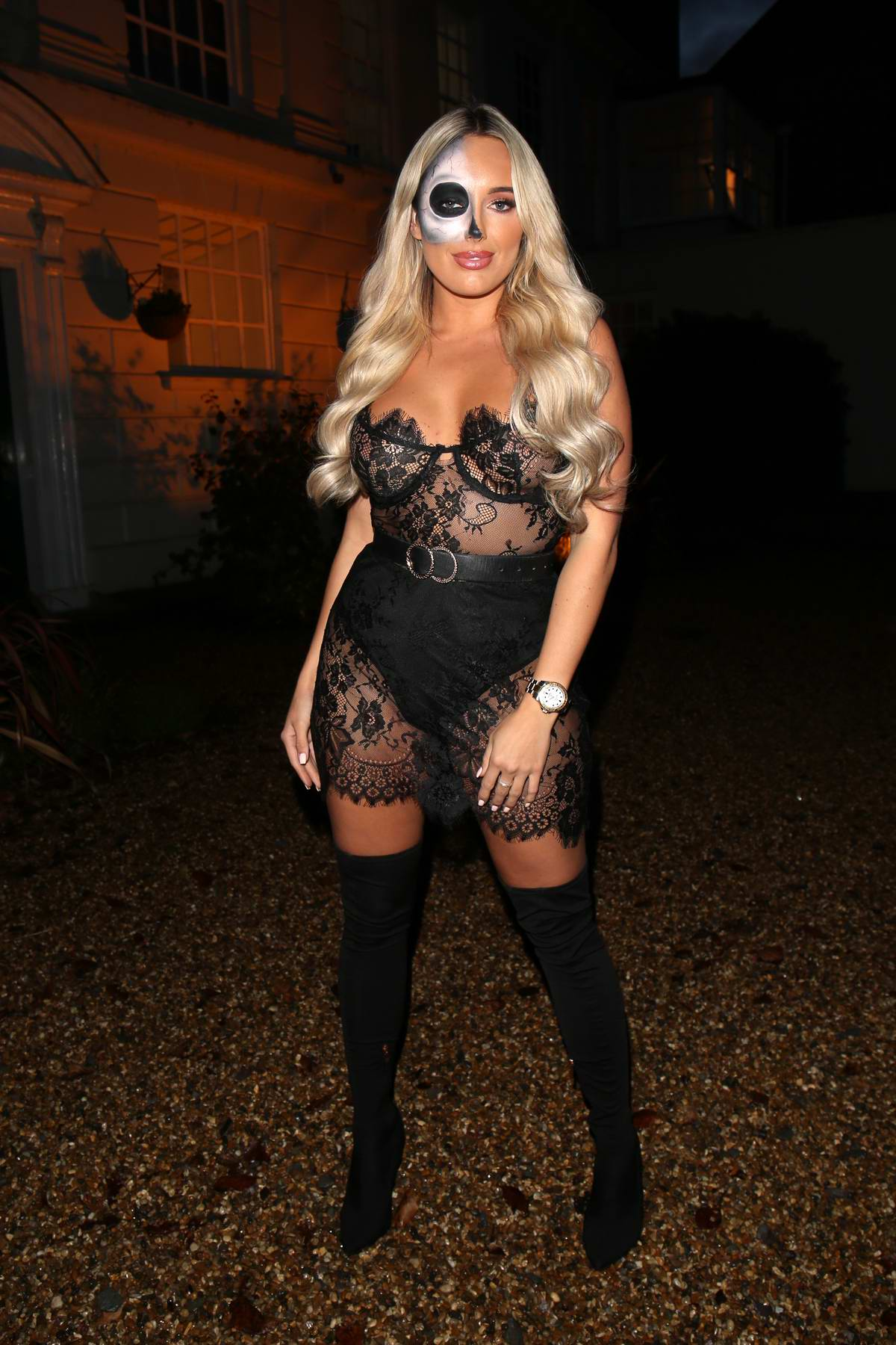 Amber Turner seen wearing a black sheer outfit while filming of 'The Only Way is Essex' Halloween Special TV show in Essex, UK