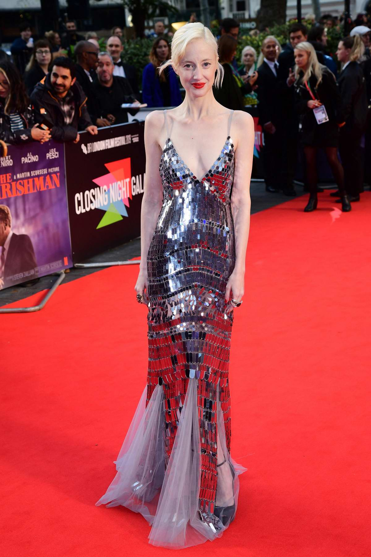 Andrea Riseborough attends the Premier of 'The Irishman' during the 63rd BFI London Film Festival in London, UK
