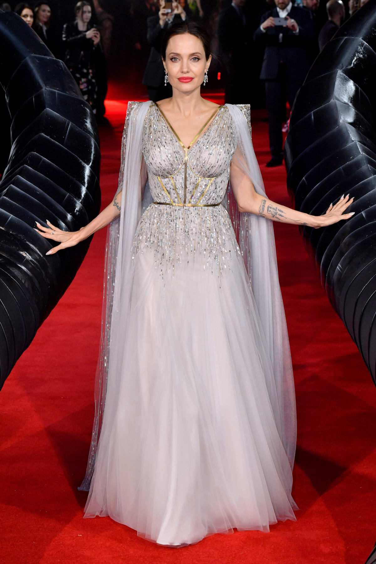 Angelina Jolie attends the European Premiere of Maleficent: Mistress of Evil at IMAX Waterloo in London, UK