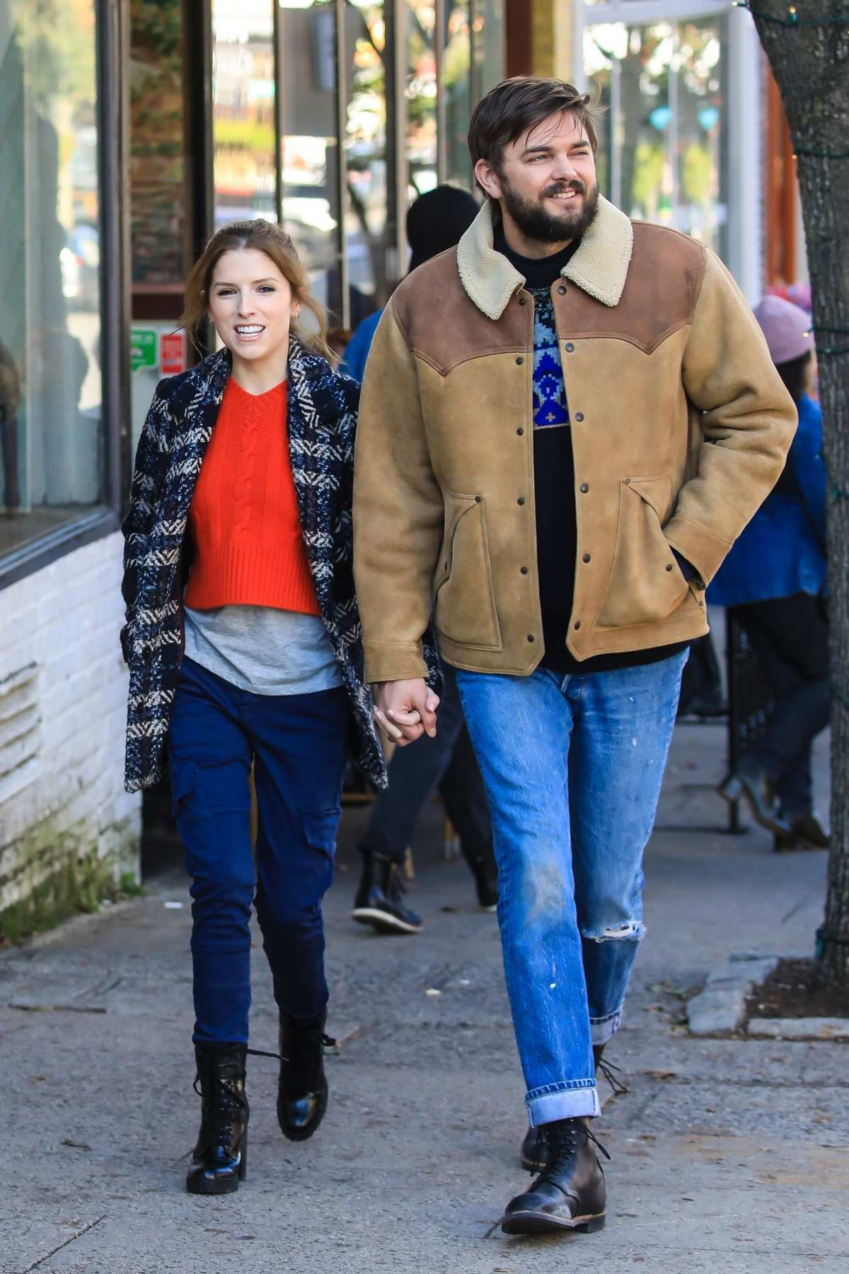 Anna Kendrick holds hands with a fellow actor while filming scenes for 'Love Life' in Tarrytown, New York