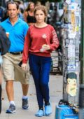 Anna Kendrick seen filming 'Love Life' at MUD Cafe in the East Village, New York City