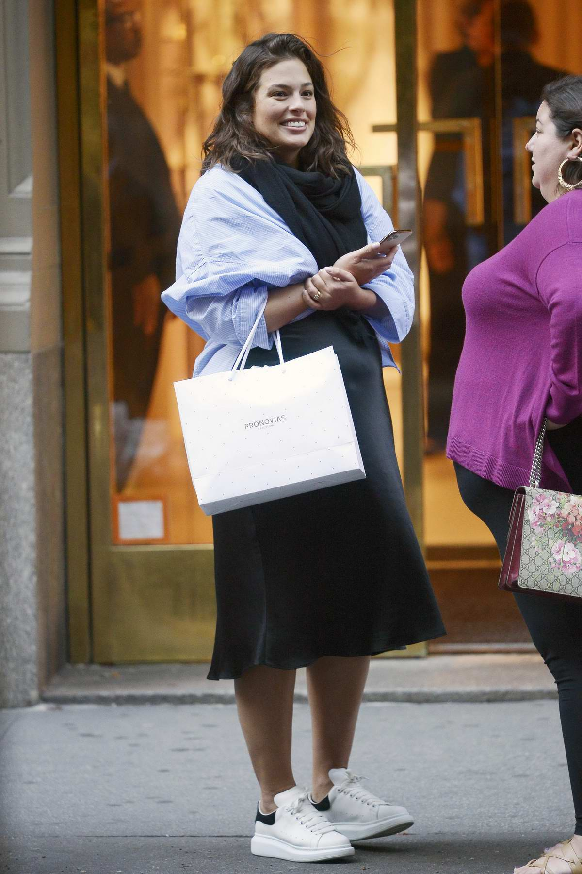Ashley Graham spotted chatting with a friend during a shopping outing in New York City