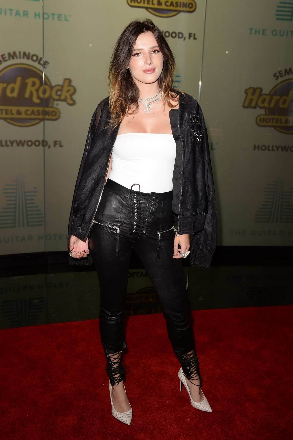 Bella Thorne attends the grand opening of the Guitar Hotel in Hollywood, Florida
