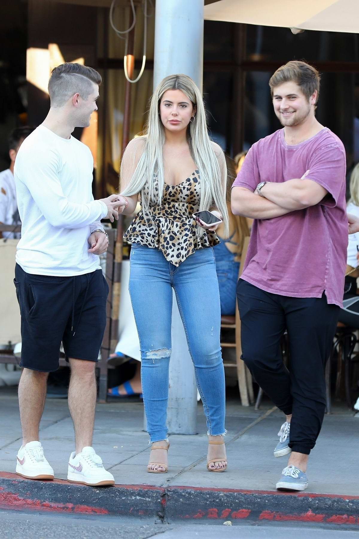 Brielle Biermann goes shopping with her friends after enjoying lunch with her friends at Il Pastaio, Beverly Hills, Los Angeles