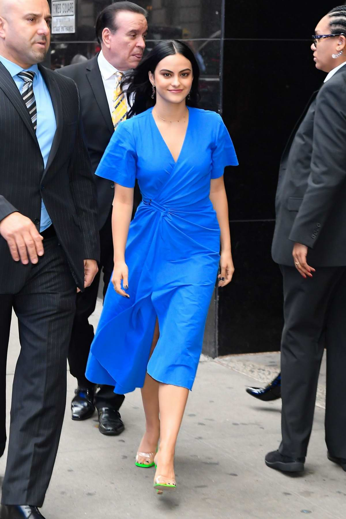 Camila Mendes looks great in a blue dress while visiting Good Morning America in New York City