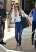 Cat Deeley wears white shirt and blue jeans for a shopping trip to Barney's New York in Beverly Hills, Los Angeles