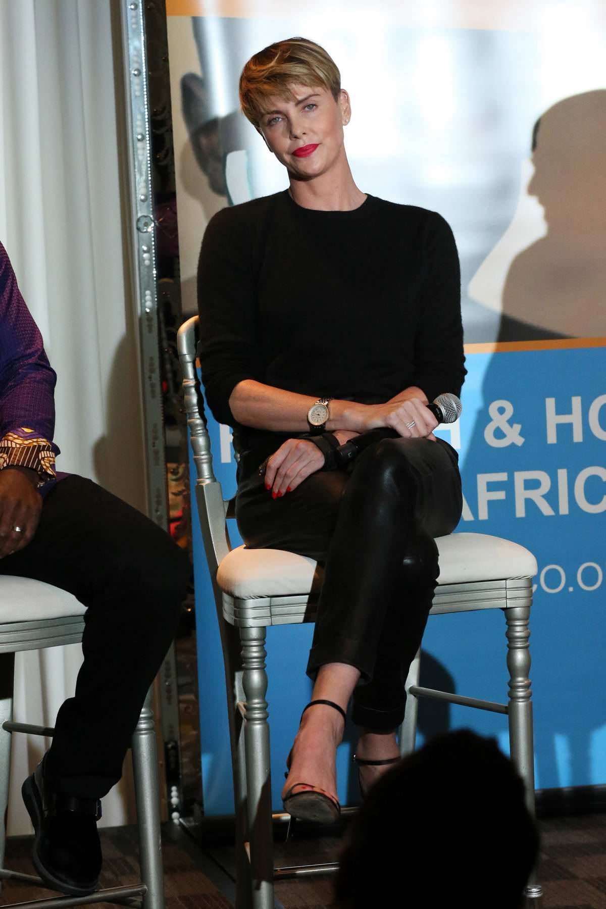 Charlize Theron speaks at the GEANCO Foundation Hollywood Gala in Beverly Hills, Los Angeles