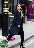 Cheryl Tweedy looks chic in all-black while out around the Soho area of Central London, UK