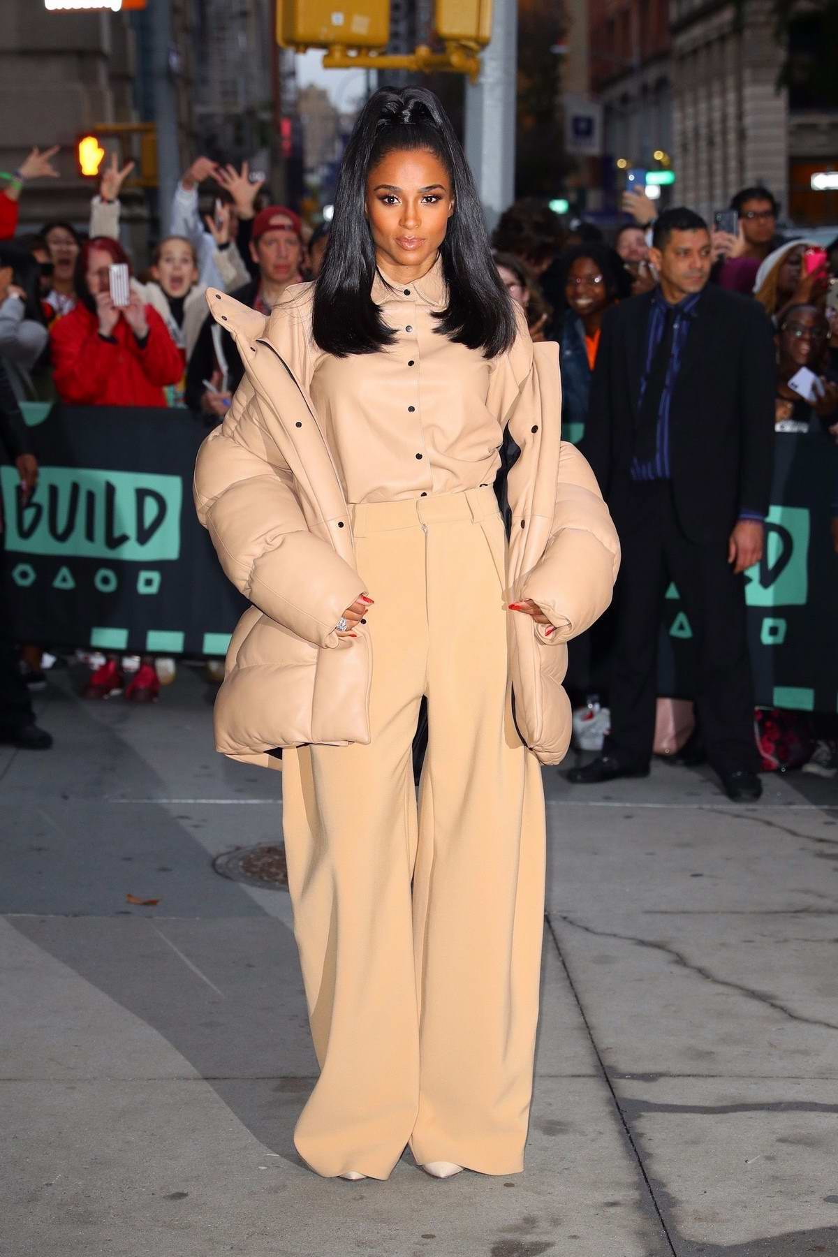 Ciara dressed in all beige ensemble while visiting Build Series in New York City