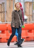 Claire Danes seen wearing a brown jacket in the West Village, New York City
