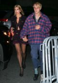 Dua Lipa and Anwar Hadid hold hands as they head to Bella's birthday party at L'Avenue in New York City