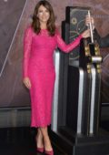 Elizabeth Hurley attends a lighting ceremony in honor of Estee Lauder Company's 2019 Breast Cancer Campaign, New York City