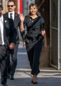 Elizabeth Olsen dons all-black as she arrives for an appearance on Jimmy Kimmel Live! in Hollywood, California