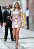 Elizabeth Olsen looks pretty in pink while leaving Jimmy Kimmel Live! in Hollywood, California