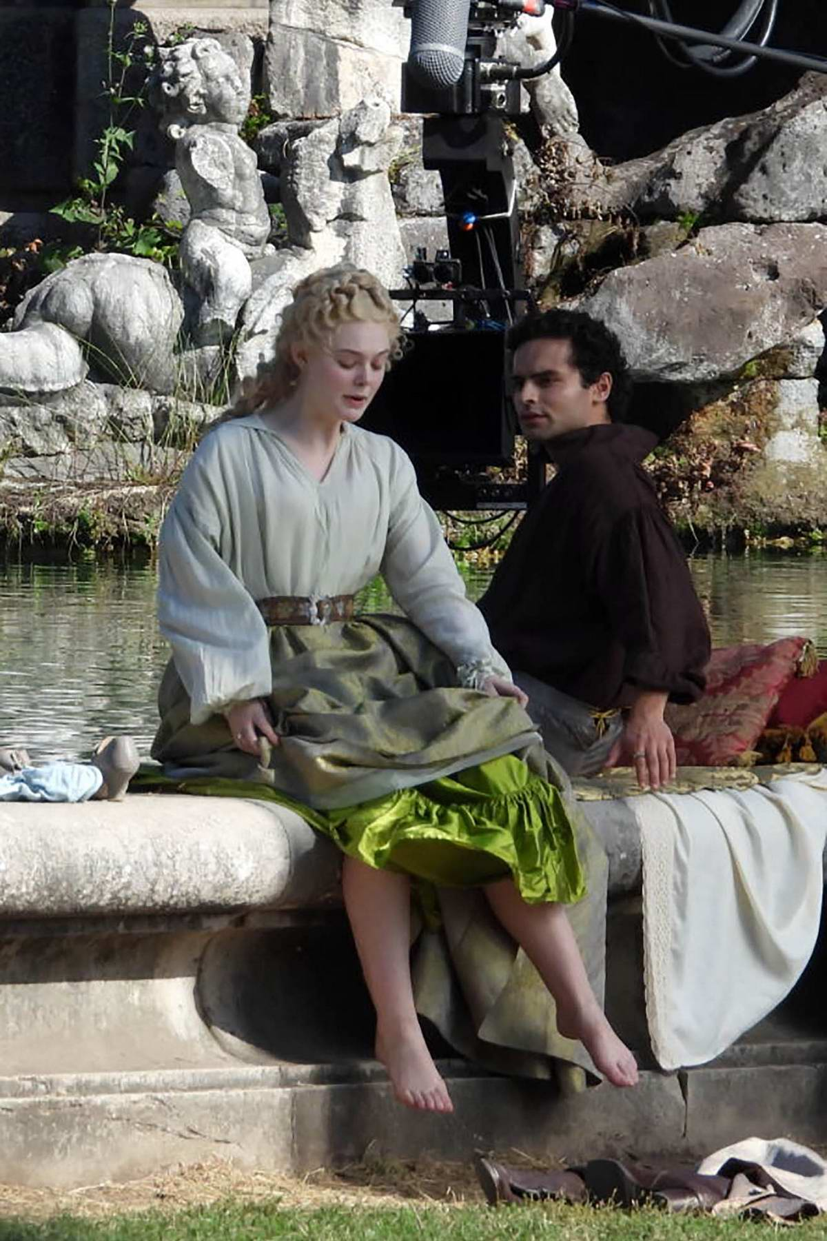 Elle Fanning and Sebastian de Souza filming 'The Great' at the Royal Palace of Caserta in Italy