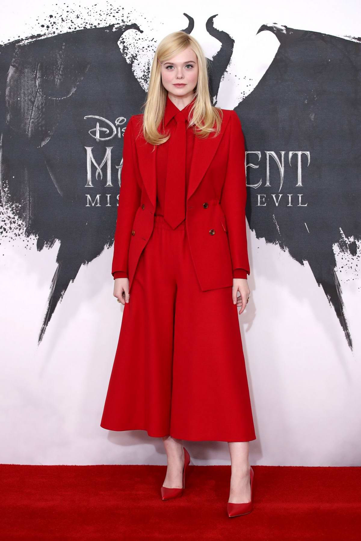 Elle Fanning attends Maleficent: Mistress of Evil photocall at the Mandarin Oriental hotel in London, UK