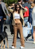 Emily Ratajkowski flaunts her perfect abs in a white crop top as she steps out Sebastian Bear-McClard in New York City