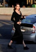 Emma Roberts sports a casual all-black look as she steps out for a coffee run in Los Angeles