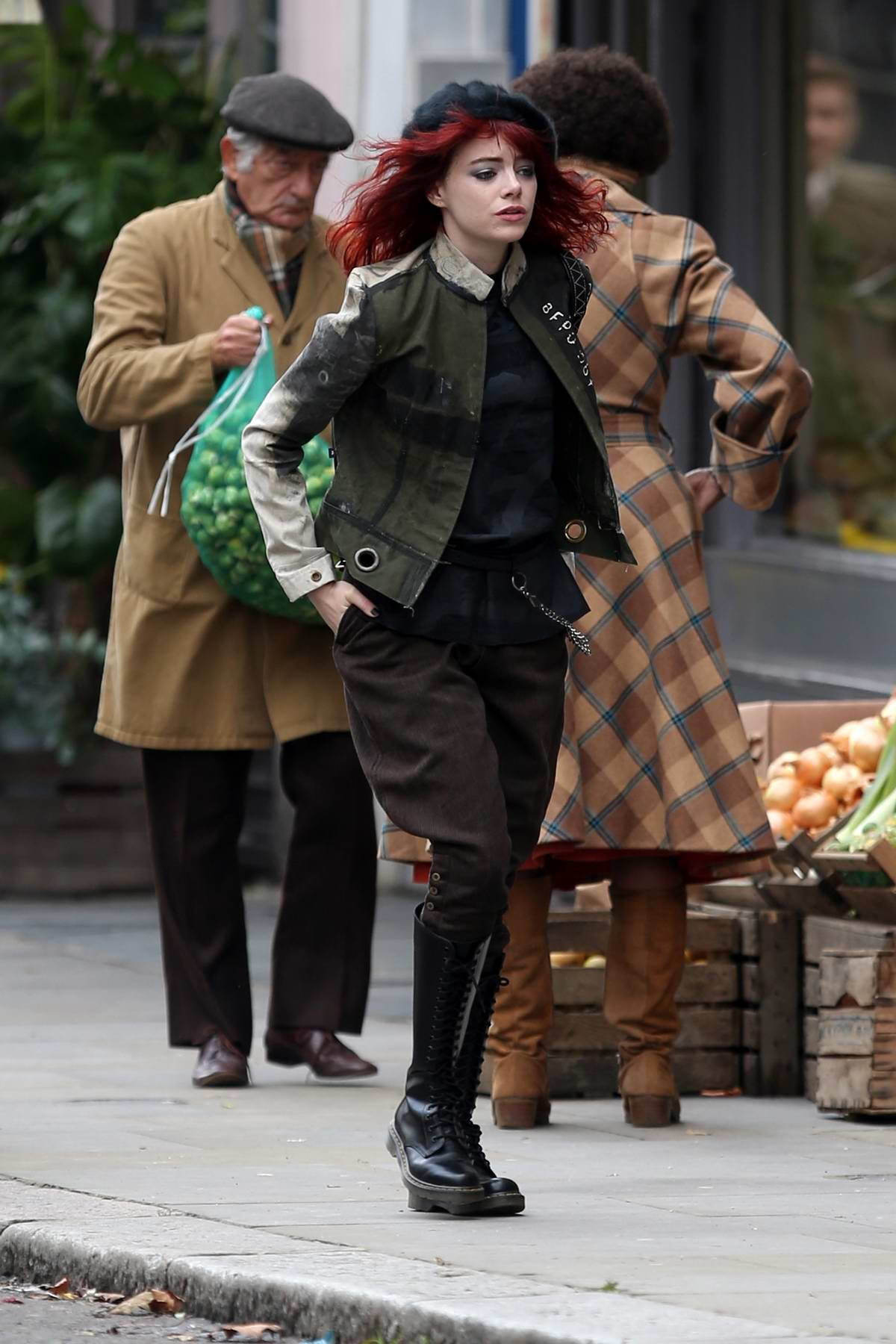Emma Stone spotted while filming Disney's 'Cruella' movie in London, UK