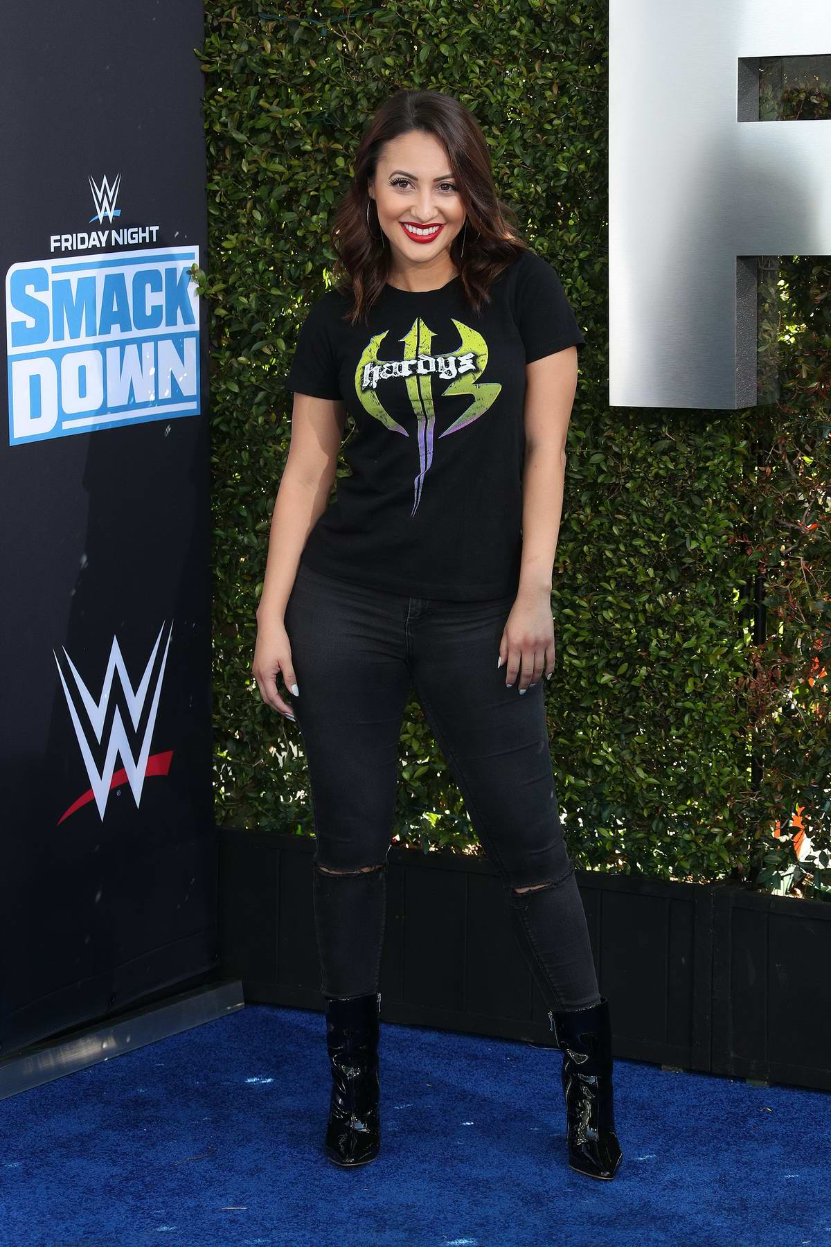 Francia Raisa attends WWE 20th Anniversary Celebration Marking Premiere of WWE Friday Night SmackDown on FOX in Los Angeles