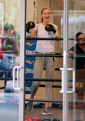 Gigi Hadid looks cheerful during her training session at a boxing gym in New York City