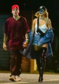 Hailey and Justin Bieber enjoy a stroll after leaving the Mansion Party in Beverly Hills, Los Angeles