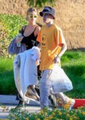 Hailey and Justin Bieber seen leaving a park after enjoying a picnic in Beverly Hills, Los Angeles